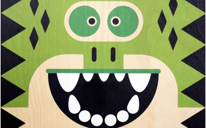 affiche enfant en bois minipic crocodile