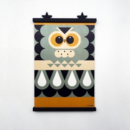 wooden poster print minipic owl