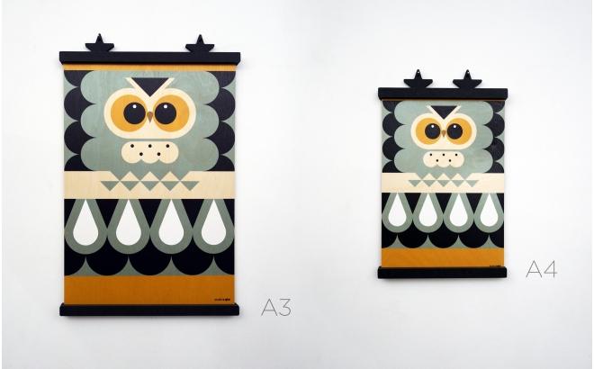 affiche enfant en bois minipic chouette
