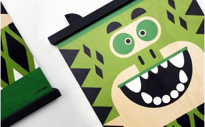 cintre affiches en bois Earwigo Crocodile