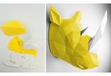trophée mural origami animal pour chambre enfant, rhinocéros jaune