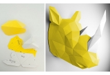 origami animal trophy for kids room, yellow rhinoceros