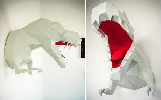 trofeo origami de pared animal t-rex L para habitación infantil de niños