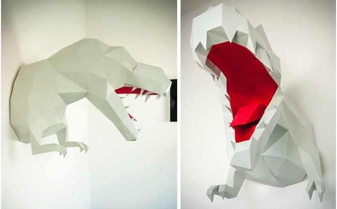 trophée mural origami t-rex L pour chambre enfant garçon