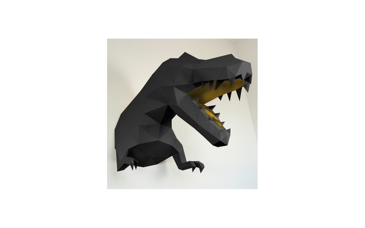 trofeo de pared dinosaurio t-rex negro L