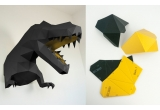 trophée mural origami dino L noir et doré pour chambre enfant garçon