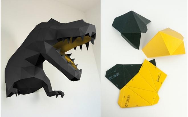 trofeo origami de pared animal dino L negro y oro para habitación infantil de niños