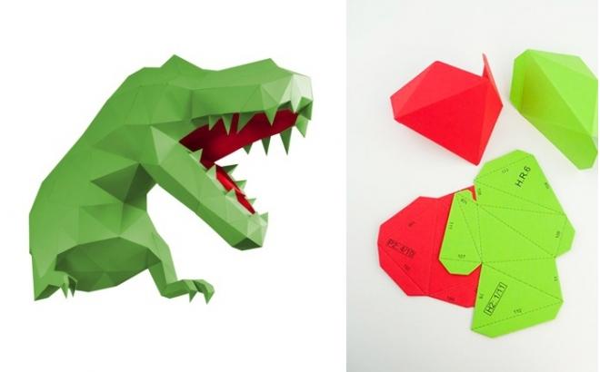 trophée mural origami dino L vert et rouge pour chambre enfant garçon