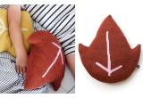 coussin feuille d'érable rouge par Main Sauvage