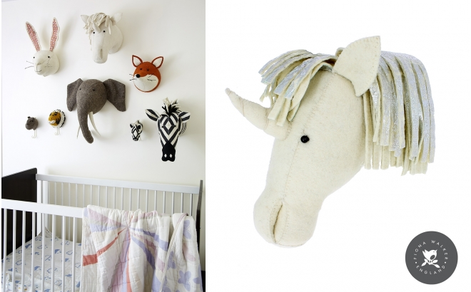 Felt Animal Heads by Fiona Walker, Unicorn