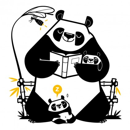 stickers enfant asie papa panda