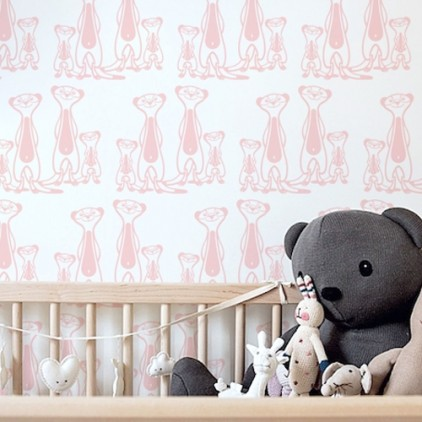 children room wallpaper meerkats, baby nursery wall mural, theme safari, savannah, jungle