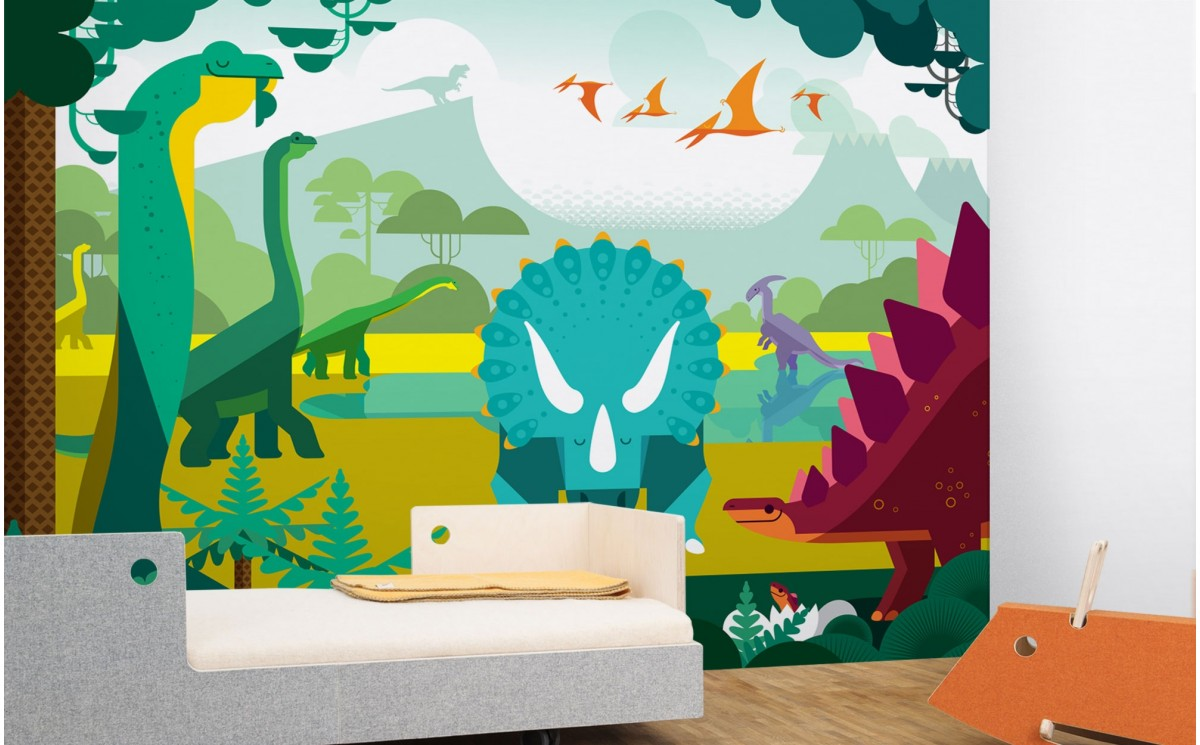 papier peint enfant dinosaure d co chambre gar on sur mesure. Black Bedroom Furniture Sets. Home Design Ideas