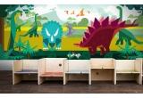 papier-peint enfants dinosaures pour chambre garçon, panoramique monde jurassique
