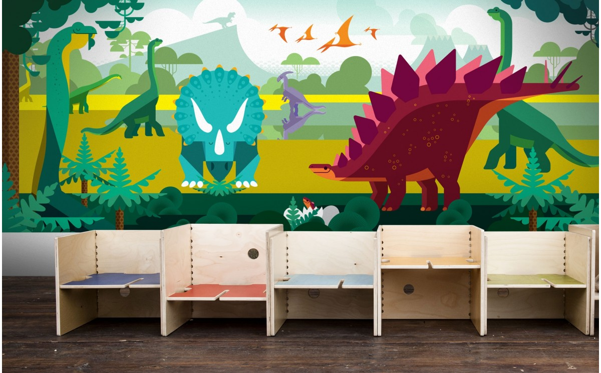 Dinosaur kids wallpapers kids room panoramic mural boy for Child mural wallpaper
