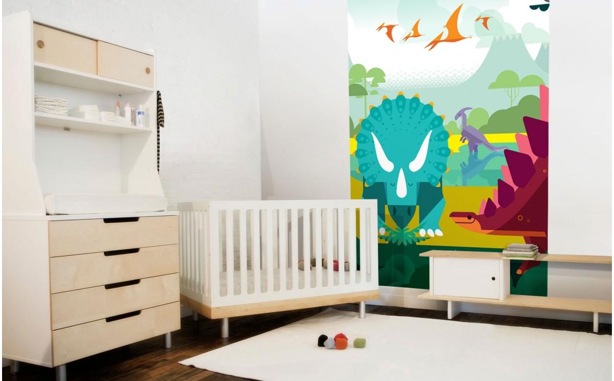 papier peint enfant dinosaures d co murale chambre enfants gar on. Black Bedroom Furniture Sets. Home Design Ideas