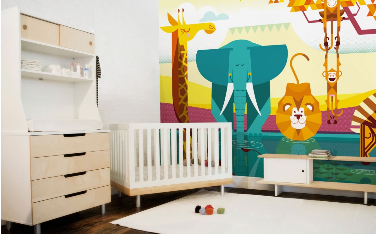 Fresque murale papier peint enfants savane jungle for Decoration murale jungle