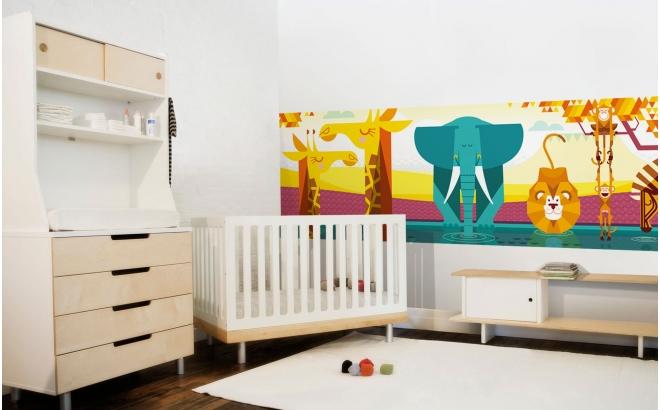 Mural Infantil Papel Pintado Selva Jungla Safari panorámico planicie Africana