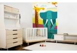 Mural Infantil Papel Pintado Selva jirafa elefante
