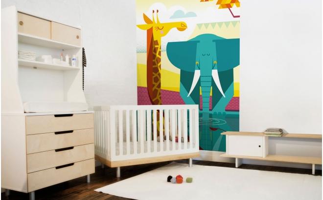 Fresque Murale Papier-Peint Enfants Savane girafe éléphant