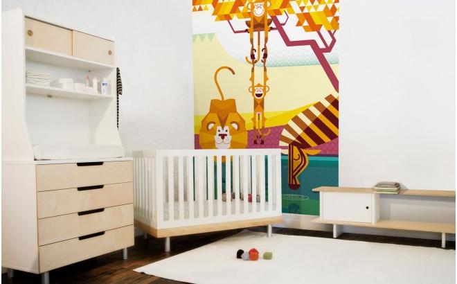 Fresque Murale Papier-Peint Enfants Savane, singes, lion, zèbre
