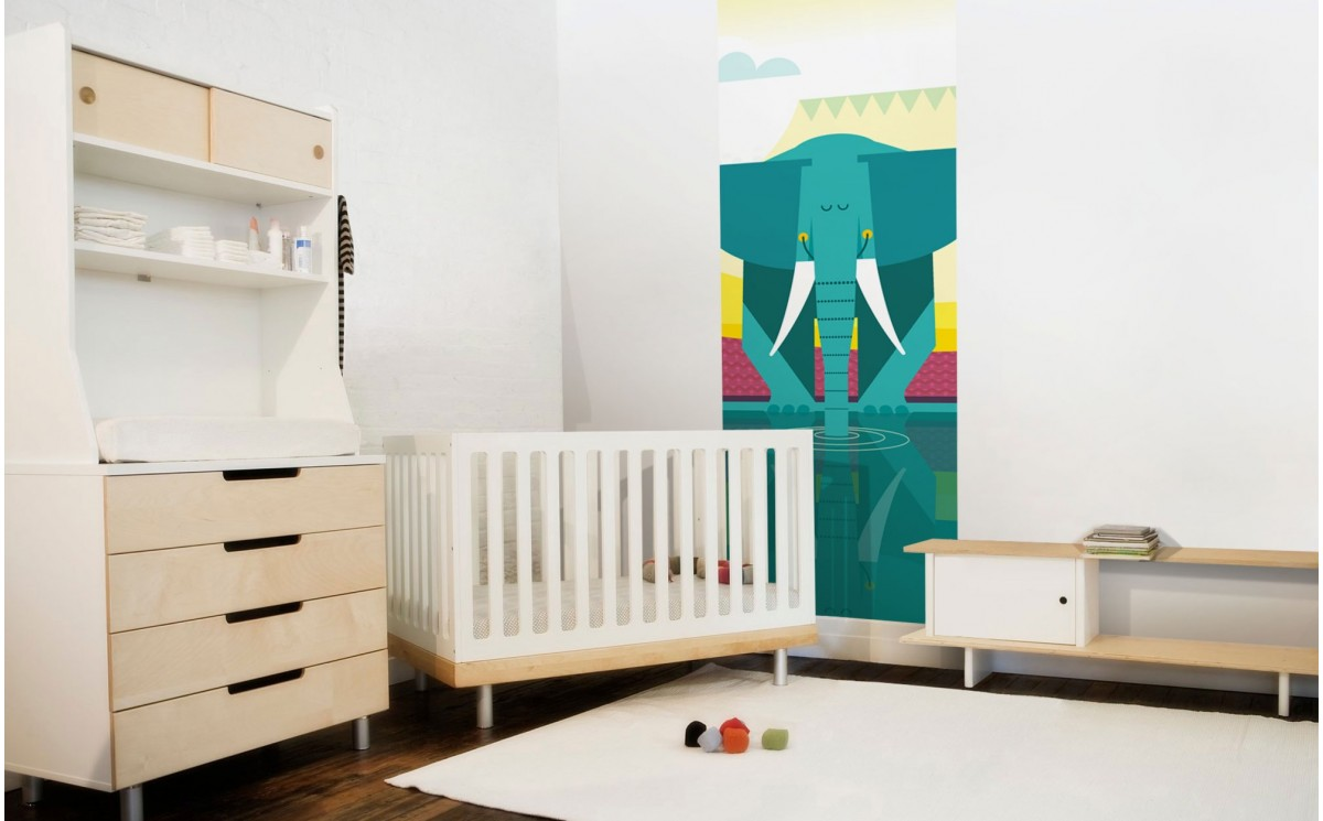 Jungle kids wallpapers elephant wall mural for baby nursery for Elephant wall mural