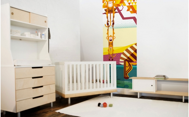 Fresque Murale Papier-Peint Enfants Savane Jungle Safari, singes, zèbre