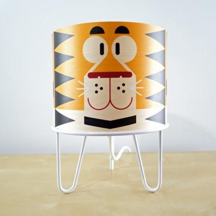 lampe à poser enfant Minilum Tigre, bois et metal blanc