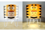 lamp Minilum Tiger for kids room, wood and white metal