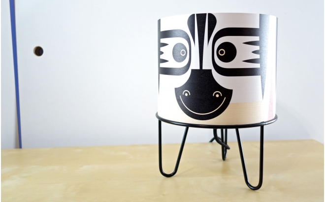 kids table lamp Minilum Zebra, wood and metal