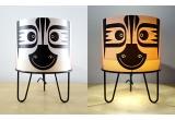lampe enfant Minilum Zèbre, abat-jour bois et metal noir