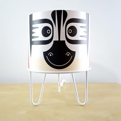 lampe enfant Minilum Zèbre, bois et metal blanc