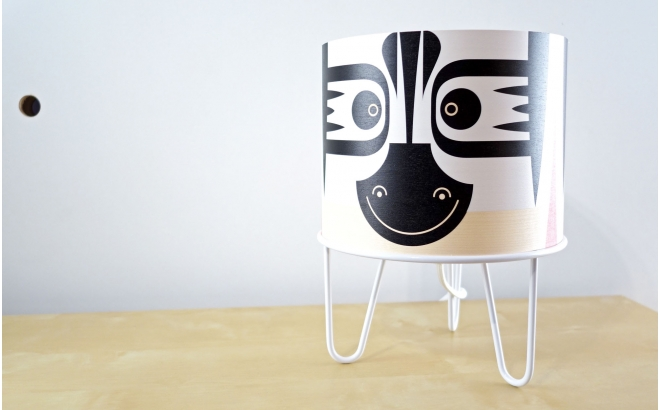 kids lamp Minilum Zebra, wood and white metal