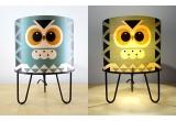 lámpara infantil Minilum Búho, pantalla madera y metal negro
