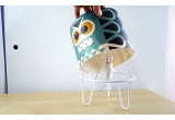 kids lamp Minilum Owl, wood lampshade and black metal base