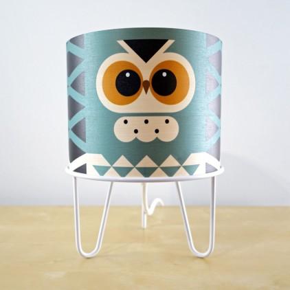 lampe enfant Minilum Hibou, abat-jour bois et metal blanc