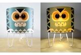 lámpara infantil Minilum Búho, madera y metal blanco