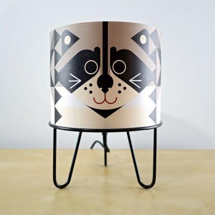 lampe enfant Minilum Raton Laveur, bois et metal noir