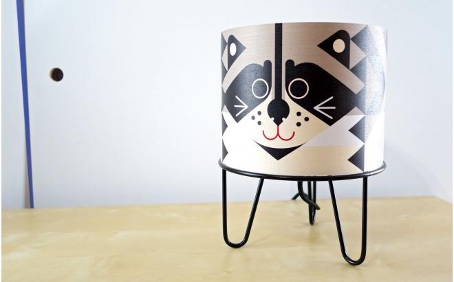 kids lamp Minilum Raccoon, wood and black metal