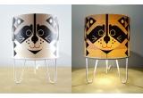 lampe enfant Minilum Raton Laveur, bois et metal blanc