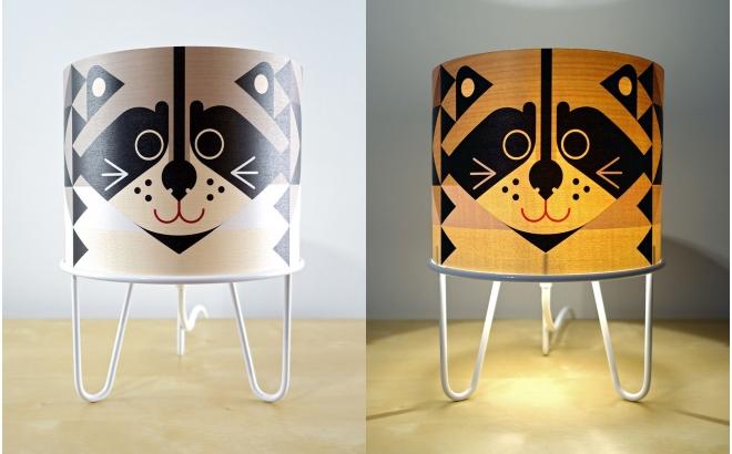 kids lamp Minilum Raccoon, wood and white metal base