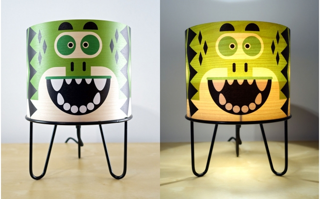 kids lamp Minilum Dinosaur, wood and black metal