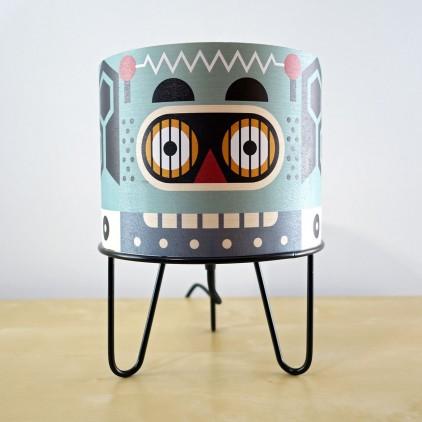 lampe garçon Minilum Robot, bois et metal noir