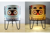 lamp for kids room Minilum Robot, wood and black metal