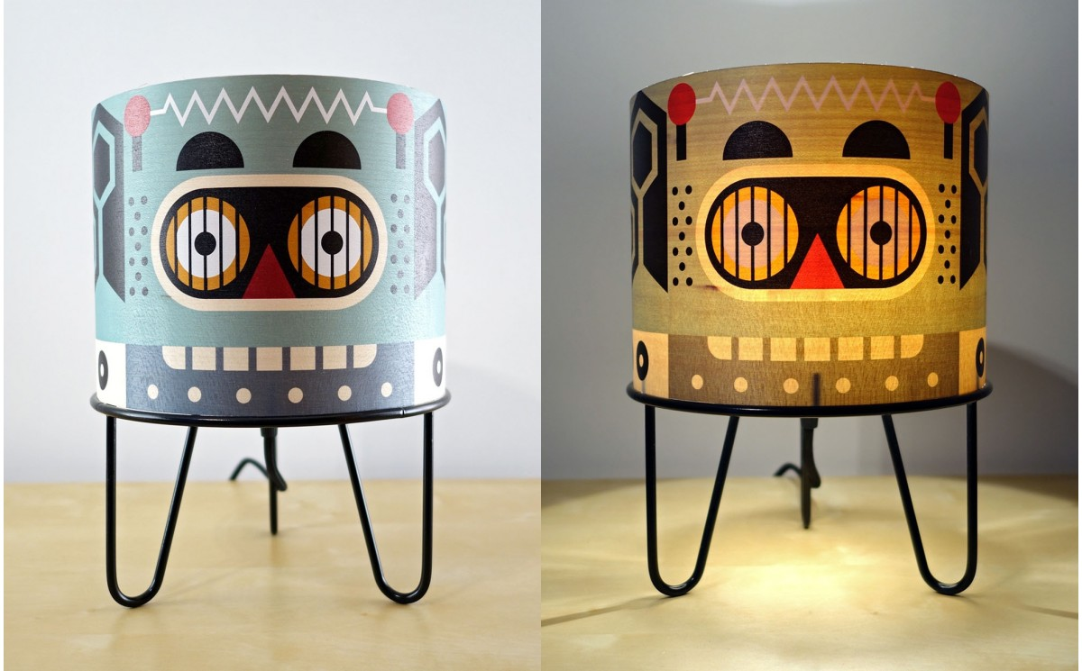 Kids bedside table lamps minilum table light for nursery or kids lamp for kids room minilum robot wood and black metal geotapseo Gallery