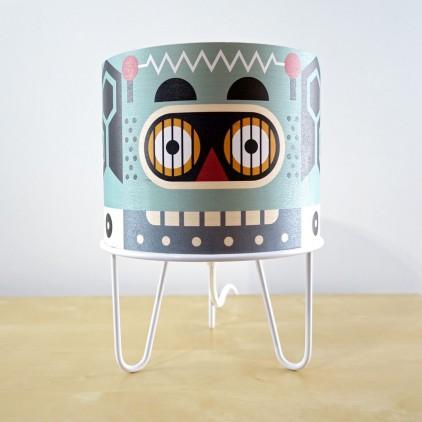 lampe chambre garçon Minilum Robot, bois et metal blanc