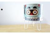 kids lamp Minilum Robot, wood and white metal