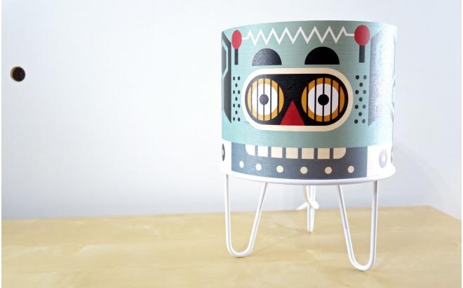 lampe enfant Minilum Robot, bois et metal blanc