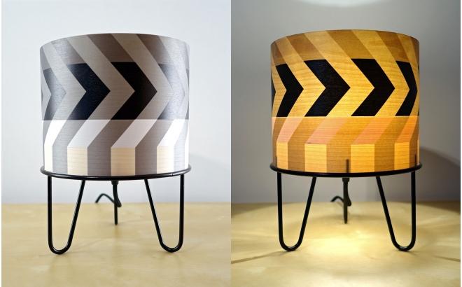 lámpara infantil Minilum Mapache motivo geometrico negro