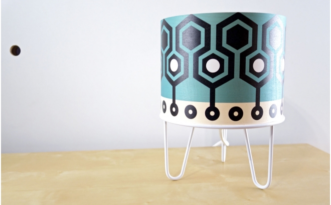 lámpara infantil Minilum motivo geometrico Robot Blanco